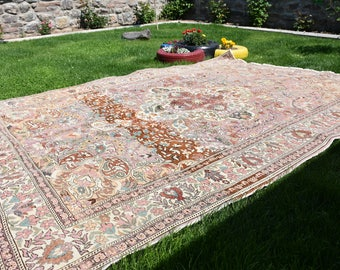 Free Shipping Large Size Turkish Anatolian Rug 6.5x9.5 Handknotted Wool Rug  Oushak Rug