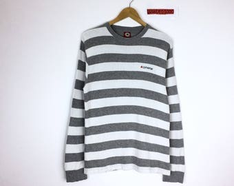Rare!!! Vintage Converse Long Sleeve Sweatshirt Converse Stripes Grey White All Star Pullover Small Coverse Embroidery  Spellout Jumper
