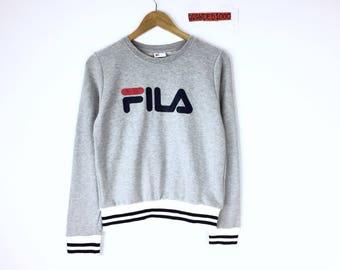 Rare!!! Vintage Fila Sweatshirt Fila Crew Neck Pullover Big Logo Spellout Jumper Sweater Sportwear