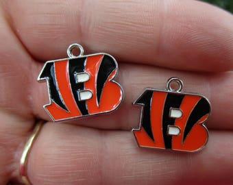 Set of 2 Orange & Black B Shaped Charms inspired by Cincinnati Bengals