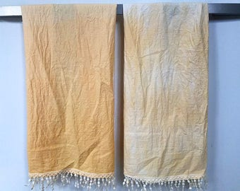 Bohemian Tea Towels *Buttercup* Ombre and Tie Dye with Fringe Embellishments Yellow