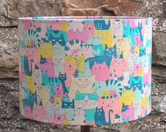 Japanese Cat Fabric Lamp Shade. Lamp shade. Light shade. Room decor. Lighting. Drum light shade. Drum lamp shade. Cat lovers gift.
