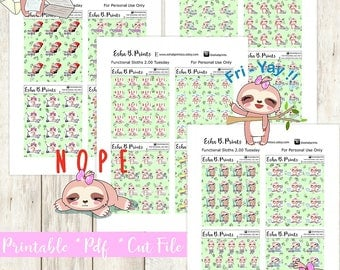 Two Dollar Tuesday Functional Sloth Printable Planner Stickers/Weekly Kit/For Use with Erin Condren/Cutfile Fall September Glam Payday glam