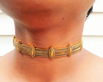 Gold Geometric Metal Choker