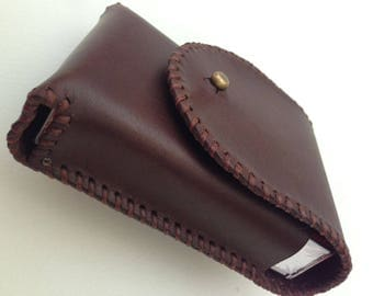 Tobacco CASE leather hand sewn, Father's Day Gift