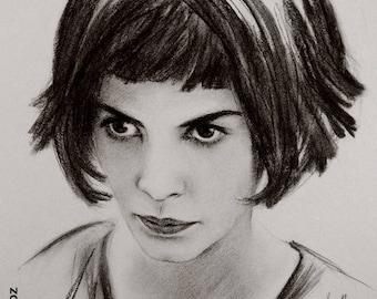 """Portrait original """"Amélie Poulain"""" (Audrey Tautou) 30 x 40 cm - 12 x 16 """""""