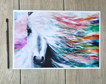 Colorful Horse Print | Acrylic Horse Painting | Horse Art | Horse Painting | Horse Decor | Nursery Art | Bedroom Decor