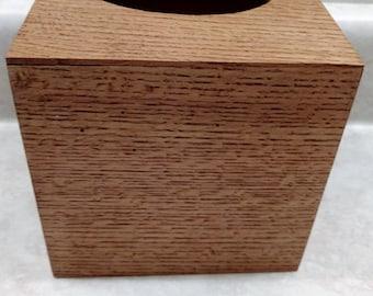 Wood tissue box cover - Quarter-Sawn White Oak
