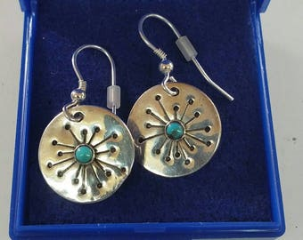 Dandelion sputnik sterling silver earrings with turquoise cabochons