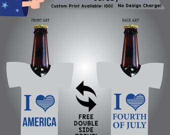 I love America I Love Fourth of July Jersey Fourth of july Cooler Double Side Print (J-FourthofJuly01)