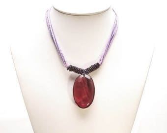 Natural Stone Necklace. Purple Necklace. Beaded Necklace. String Necklace. Necklace. Handmade Necklace.
