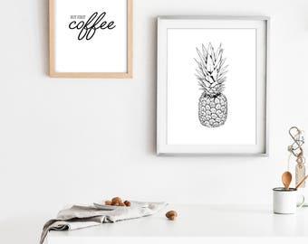 Pineapple Sketch Print - Home Decor - Scandinavian home print- Minimal Home