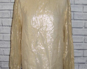 Size 14 vintage 80s party blouse button back sheer sleeves shimmery gold (HY90)