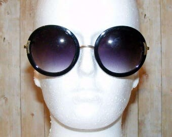 Vintage 70s style oversize graduated round sunglasses black/gold frame (TS05)