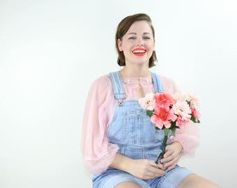 Vintage Lingerie / Pastel Pink Nightgown / GOSSARD ARTEMIS Sheer Embroidered 60's Nightie / One Size
