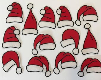 13 Iron on Fabric Father Christmas Hat Motifs/Patches/Embellishments