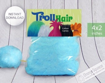 INSTANT DOWNLOAD, Trolls Cotton Candy Label, Treat Bag Toppers, Trolls Hair, Trolls Theme, Trolls Party, Trolls Favor labels, Birthday Party