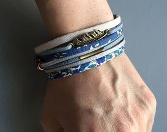 liberty fabric fancy retro blue fancy Cuff Bracelet