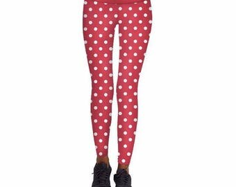 White Polka Dots Christmas Leggings