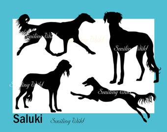 Saluki dog silhouette svg clipart Persian Greyhound printable commercial use cut out digital download dog silhouette running dog vector art