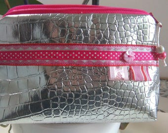 Pink and silver treasure pouch to order