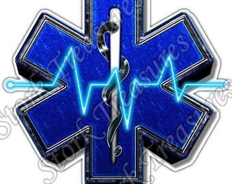 Paramedic Heart Beat Emergency Medical EMS Car Bumper Vinyl Sticker Decal