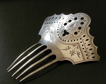 Antique Aesthetic Period Victorian Large Sterling Silver Hair Comb Chased Cutout Design Bright-Cut BRIDAL Hair Decoration Hair Ornament 37G