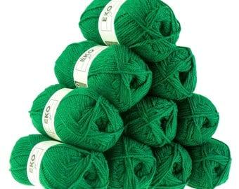 10 x 50 g knitting wool EKO FIL, #090 fern