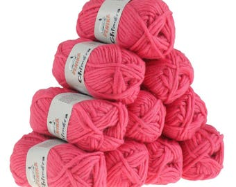 10 x 50 g wool CHIMERA #425 pink, wool for knitting felting