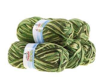 5 x 100 g yarn of 200 by VLNIKA, #07 green tones