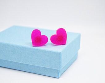 Neon Pink Heart Ear Studs, Handmade Jewellery, Valentine's Gift, Novelty Earrings, Hypoallergenic, Stainless Steel, Romance, Girlfriend