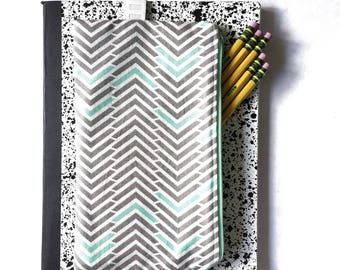 Chevron Pencil Case with Elastic | Pencil Pouch | Mint and Gray | Attachable Pencil Case