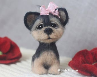 Needle felted York Terrier, Toy York Terrier, felted puppy, needle felted animal, wool figurine dog, felt dog,felt toy,ornaments,little one.