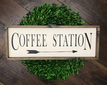 Coffee Station Sign | Wood Sign | Coffee Bar Sign | Coffee Sign | Kitchen Sign | Farmhouse Style | Farmhouse Decor | Farmhouse Sign | Coffee