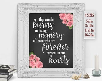 This Candle Burns in Loving Memory of Those Forever Present in our Hearts, Wedding Decor, Wedding Memorial Sign, Printable DIGITAL FILE Only