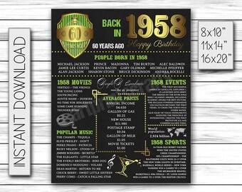 60th birthday, 1958 gift, chalkboard poster, birthday poster, 60 birthday gift, 60 years ago, 1958, 60th birthday banner, DIGITAL FILE ONLY