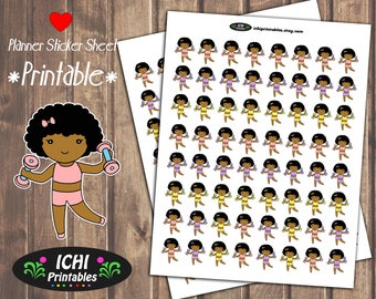 Cute Afro Puffs Planner Stickers Printable Afro Planner