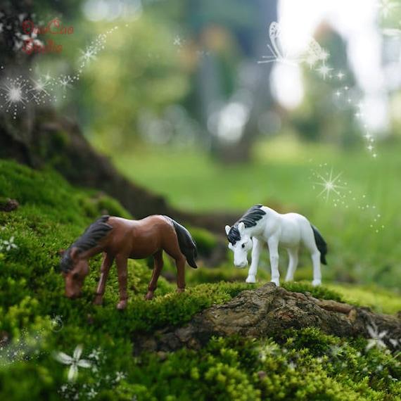 Fairy Miniature Tiny Horse 2pcs White Brown Mini Fairy