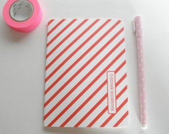 Small notebook white Pinstripe Red