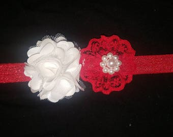 White and red flower headband