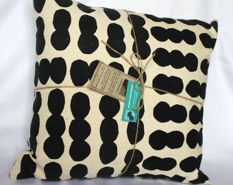 Hand Screen Printed Cushion - Black Dot Design on 100% White Cotton - Large Square 20 x 20 inches