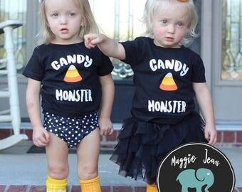 Candy Monster, Youth Halloween Shirt, Kids Halloween Shirt, Fall Shirt, Not So Scary Halloween, Candy Monster Shirt, Cute Halloween Shirt