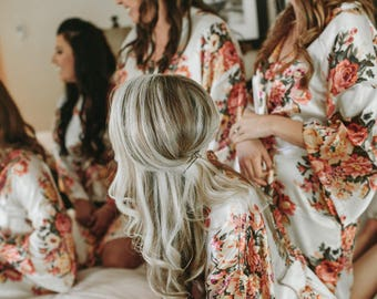White Floral Bridesmaid Robes-9 Floral Bridesmaids Robes - Available Monogramming-Lot's of Colors
