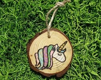 Wood Burned Unicorn Ornament