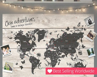 World map cork board etsy personalised travel world map pin cork board couples wedding gift valentines unique holiday girlfriend wedding gumiabroncs Image collections