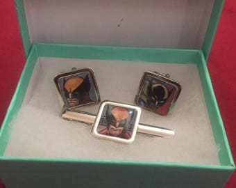 Marvels Wolverine cuff links and tie clip