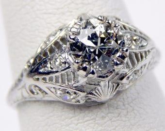 Deco platinum 1.12 Ct VS2 old european cut diamond ring #10652