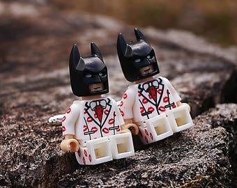 Batman Cufflinks LOVE - super-heros dc comics - batman minifigures - minifigurine compatible lego - wedding gift for men
