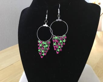 Silvertone Hoop Earrings with Pink and green acrylic beads.