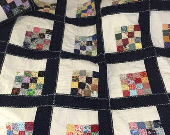 Navy with muslin lap quilt